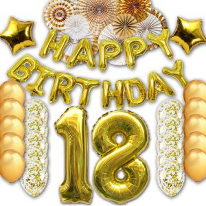 18th Happy Birthday Letter Party Balloons Banner Gold Decoration Supplies Big Foil Mylar Thick Latex For