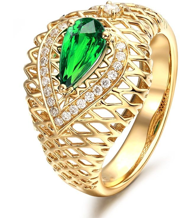 Ring Emerald AliExpress Gold Cutout Crystal 臻 Plated Diamond Emerald Rings