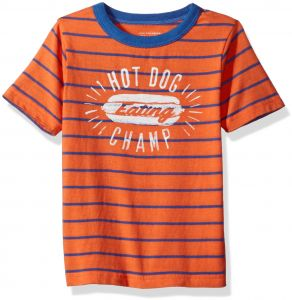 e602e00c5 The Children's Place Baby Toddler Boys' His Li'l Striped Graphic T-Shirt,  Fusion Orange, 5T