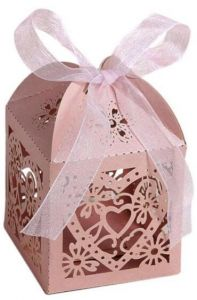 50pcs Laser Cut Flower Butterfly Wedding Birthday Party Candy Box Baby Shower Favor Gift Boxes - Pink