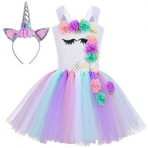 9c81b3aa116 Baby Girls Unicorn Dress Birthday Pageant Princess Tulle Tutu Costumes  Rainbow Dress UP With Headband