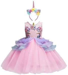 0d6793c28 Pink Girl Unicorn Flower Dress Birthday Party Pageant Princess Layred Tutu  Dresses for 5-6Y