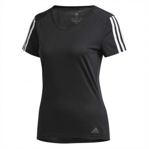 daf2468b30f93 adidas Weft knitted 3-Stripes Sports T-shirt for Women - Black White