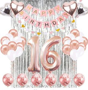 16th Birthday Decorations Banner Balloon Happy Rose Gold Number Balloons 16 Old Decoration