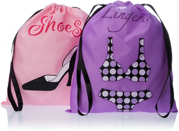 PURE STYLE Girlfriends Women s Travel Drawstring Bag Set Shoe and Lingerie 3b41a377e4