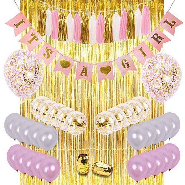 Girls Baby Shower Decorations Kit Pink Gold Theme Decor Set With