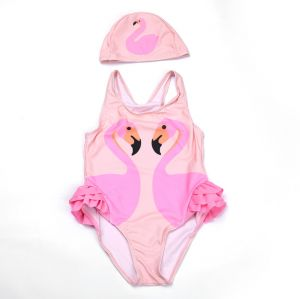 0e3c1c1ba5f8c Pink White Swan Print Girl One-piece Swimsuit to Send Swimming Cap XL