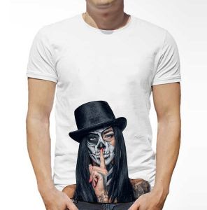 d229d2dc6 ATIQ White T-Shirt for Men - Halloween Silence with Top Hat and Skull Makeup