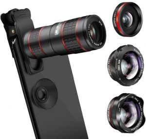 8454ccc1166886 Phone Camera Lens, KNGUVTH 5 in 1 Cell Phone Lens Kit - 12X Zoom Telephoto  Lens + Fisheye Lens + Super Wide Angle Lens+ Macro Lens (2 Lens) Compatible  with ...