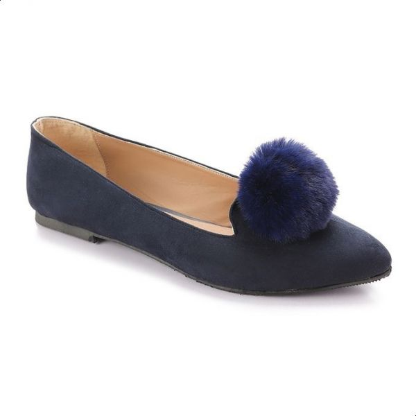 ead863f3d4 Trust Faux Suede Pom Pom Pointed-Toe Flat Shoes for Women - Navy ...