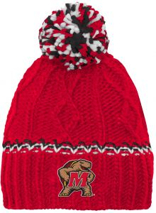 NCAA by Outerstuff NCAA Maryland Terrapins Youth Girls Cable Knit Cuffless  Hat w Pom 657c719cdec9