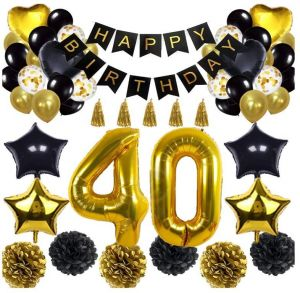 40th Birthday Decorations Balloon Banner