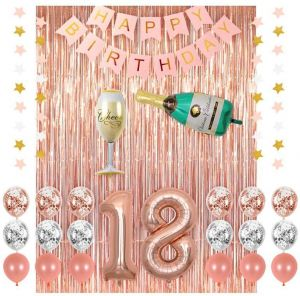 18th Birthday Decorations Rose Gold 18 Party Supplies Champagne Balloon Pink Happy Banner BalloonsRose Foil Fringe