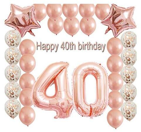 40th Birthday Decorations Party Supplies Set Rose Gold Confetti Latex Balloons Happy Banner As Gift For Her GirlsWomenMen Table