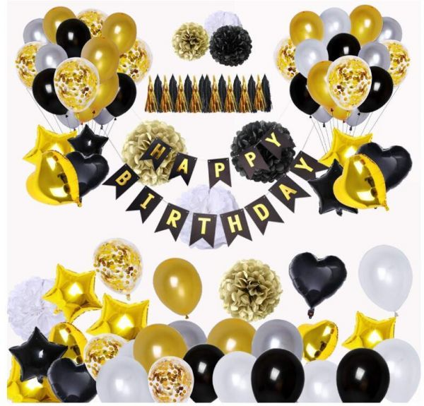 Black And Gold Party Decorations90Pcs Happy Birthday Banner Star Heart Foil Balloons 18th 20th 30th 40th 50th 60th 70th Decorations
