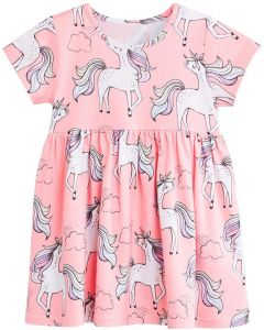 529f1d3e243cb Flower Girl Unicorn Print Lotus Leaf Dress 5-6Y