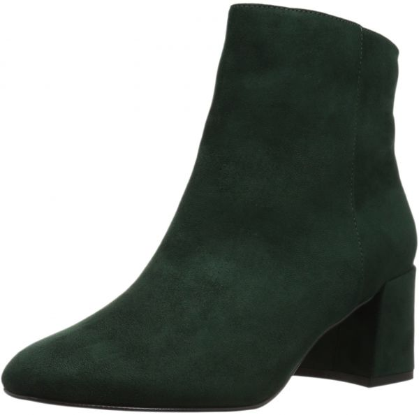 Forest green suede ankle booties