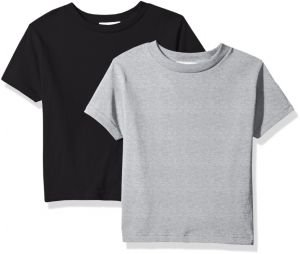 f8e349f2 Clementine Baby Girls' Little Boys' Everyday Toddler T-Shirts Crew 2-Pack, Black/Heather Grey, 3T