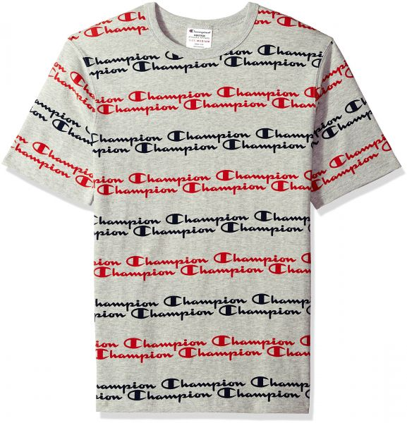 63096340 Champion LIFE Men's Heritage Tee-All Over Script, Oxford Grey ...
