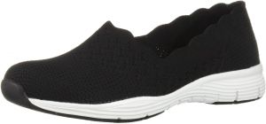 Skechers Skechers Women's Seager STAT Scalloped Collar, Engineered Skech Knit Slip On Classic Fit Loafer, Natural, 5.5 M US from Amazon | ShapeShop