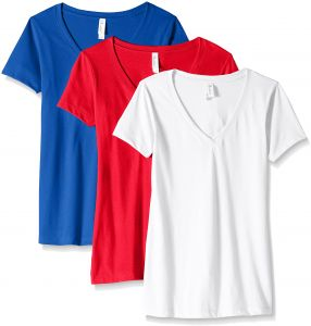 352cf62b6c05 Clementine Apparel Women s Petite Plus Ideal V-Neck T-Shirt (Pack of 3)