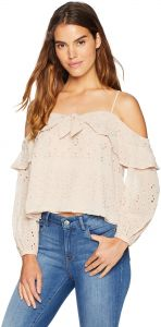 3aae745bbf5 ASTR the label Women's Kimberly Cold Shoulder Long Sleeve Eyelet Ruffle Top,  Pale Mauve, L