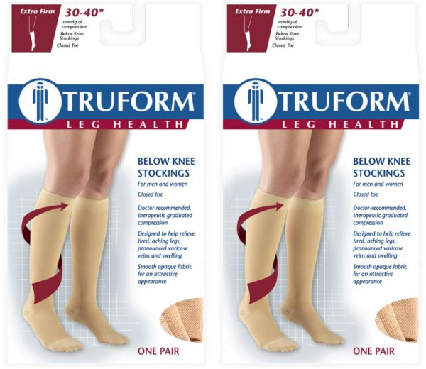5a2d9dcf9a Truform Compression 30-40 Mmhg Knee High Stockings Black, 3X-Large, 2 Count  | Souq - UAE