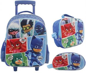 10cbe19d59f71 3D School Bag Trolley With Backpack for Children Boy - 18 Inch - Set of 3  Blue