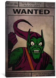 0cb8f8076b5c iCanvasART 1 Piece Marvel Comic Book  Green Goblin Wanted Sign Canvas Print  by Marvel Comics