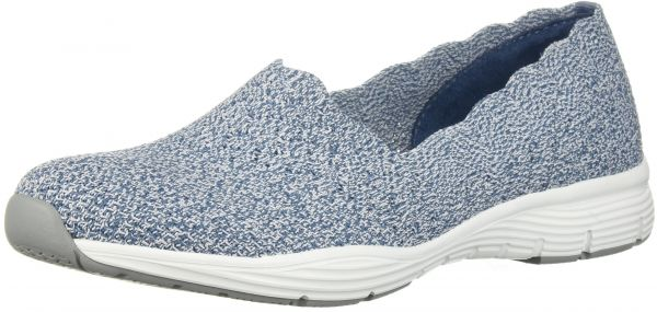 Stat LoaferLight On M CollarEngineered Women's Scalloped Seager Skech Skechers Us Classic Fit Blue9 Knit Slip nPwOkX8N0