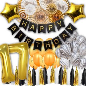 17th Black White And Gold Party Decorations Happy Birthday Banner Star Foil Balloons
