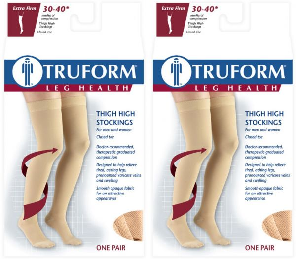 31685e54b7b Truform Compression 30-40 Mmhg Thigh High Dot Top Stockings Beige ...
