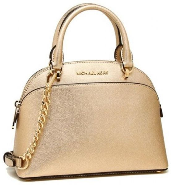 98fb68193b55 Michael Kors Emmy Small Dome Satchel Leather Pale Gold Crossbody ...