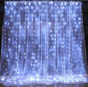 White Eu Plug String Light For Window Curtain 300 Led Fairy Twinkle Starry Lighting Decorative Light Home Decoration Lamp For Indoor Outdoor Wedding