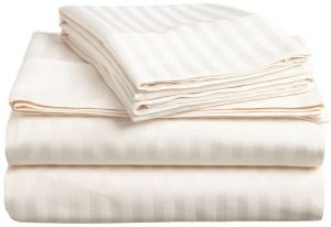 Superior 300 Thread Count 100 Premium Combed Cotton 3 Piece Bed Sheet Set Deep Pocket Single Ply Sa Stripe Twin Xl Ivory