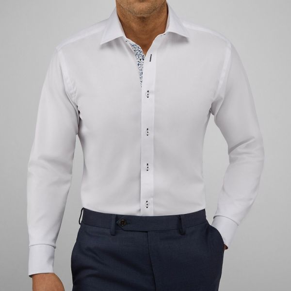 John Henric Seattle White Contrast Shirt