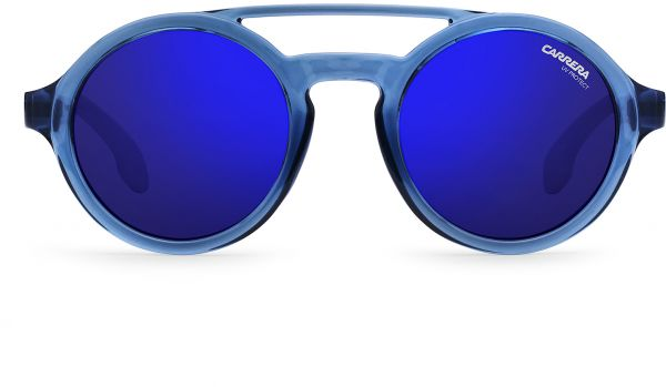 22f198149a8a Carrera Round Double Bridge Blue-Lens Unisex Sunglasses - Light Blue and  White