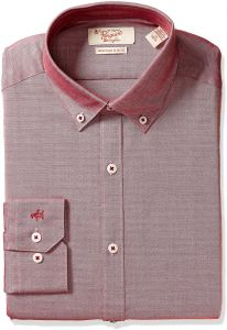636ad9c8 Original Penguin Men's Slim Fit Button Down Collar Dress Shirt, Red Oxford,  16.5 32/33