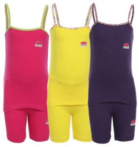 c4aeaac70a15 Cottonil Set Of Three Sleeveless Top &Short -For Girls Pink-Purple-Yellow