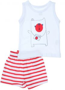 95787cf42 Junior Cotton Printed Tank Top and Striped Shorts Unisex Set - White and Red
