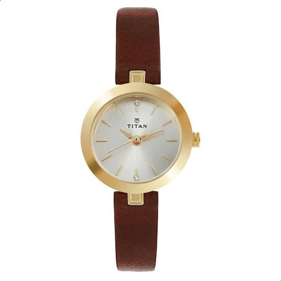 8c3561e31 Titan 2602YL01 Leather Round Analog Water Resistant Casual Watch for Women  - Brown