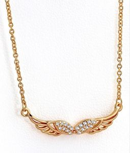 ba8fd8ef3 Brass w/ Rose Gold Plating Micro Pave Petite Angel Wing Charm Necklace