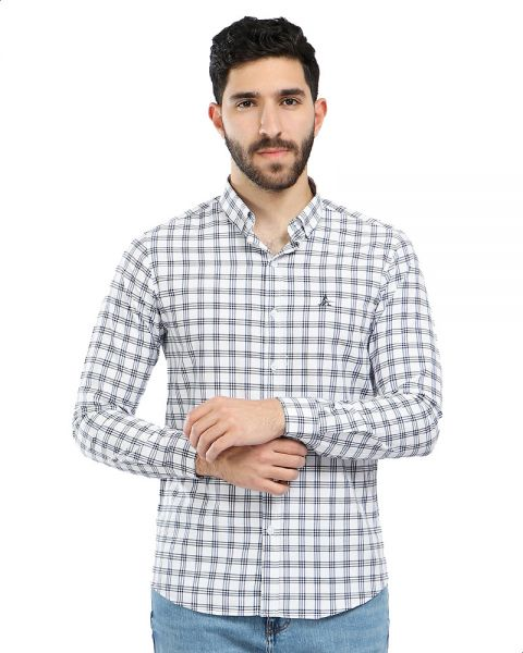 4f76686b Andora Windowpane Plaid Button-Down Long Sleeve Cotton Shirt for Men - White
