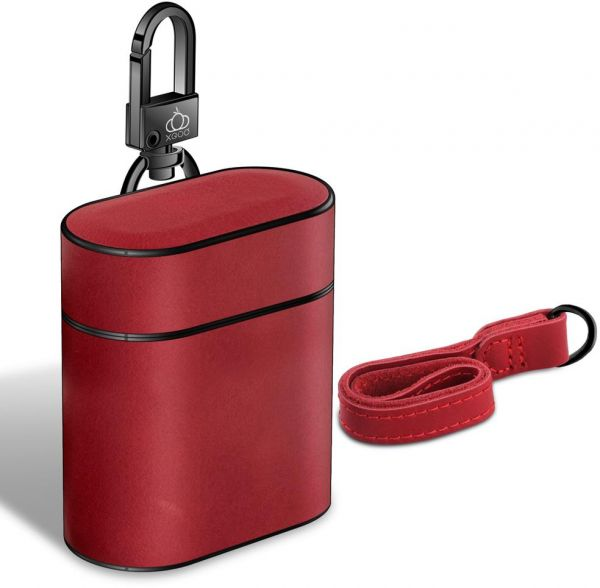 Compatible airpods Leather Case, Customized Genuine Leather Cover Portable Stand Case with Buckle and Lanyard for apple airpods Protective Shockproof Charging Case (Red)