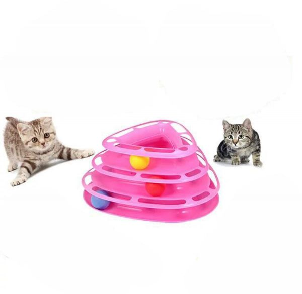 Cat Toys Little Pet Toys Interactive Three Levers Tower of Tracks Pet Crazy Ball Disk Toy ‫(Pink)