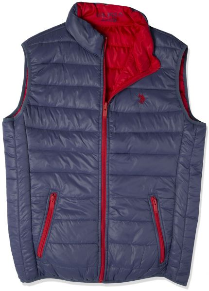 adedbc2ef U.S. Polo Assn Reversible Puffer Jacket for Men , Navy and Red , 144 44300