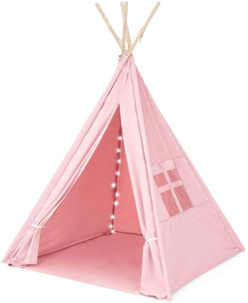 Kids Cotton Canvas Indian Teepee Playhouse Sleeping Dome Play Tent w/ Lights, Carrying Bag, Mesh Window - Pink