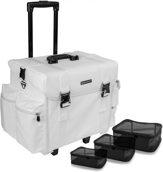 d77c55f6cf69 SHANY Makeup Artist Soft Rolling Trolley Cosmetic Case with Free Set of  Mesh Bags - Frozen Yogurt
