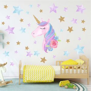 Colorful Unicorn Wall Decals For Kids Room Vinyl Peel And Stick Wall Stickers Nursery Baby Room Decoration Wall Stickers Pvc Car Stickers Laptop Or Refrigerator Sticker Poster Wallpaper Home Decor Buy