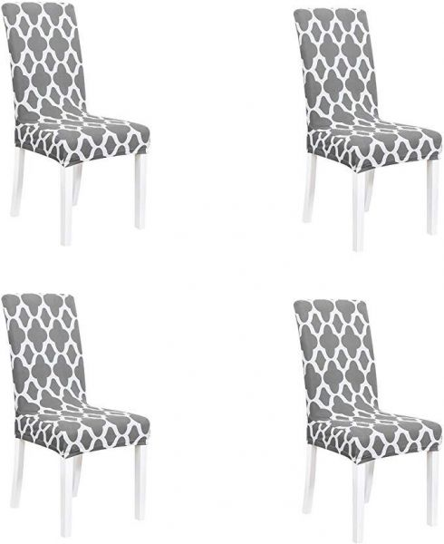 Chair Cover Geometric Printed Stretch Dining Chair Covers - Removable Washable Short Chair Slipcovers Protector for Dining Room Living Room Kitchen Ceremony Banquet Wedding Hotel and Party,Set of 4